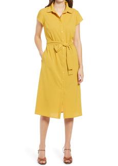 Halogen® Textured Tie Waist Shirtdress