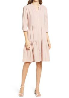 Halogen® Tiered Button Front Dress
