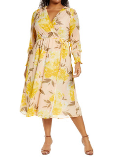 Halogen® Wrap Front Long Sleeve Midi Dress (Plus Size)