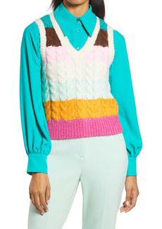 Halogen® x Atlantic-Pacific Stripe Cable Knit Sweater Vest