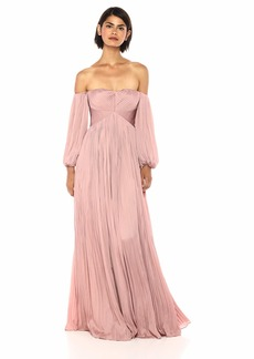 Halston Heritage Women's Off Shoulder Sweetheart Neck Pleated Gown