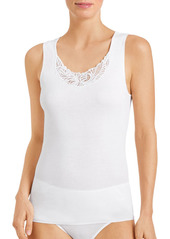 Hanro Madlen Lace-Trim Cotton Tank Top