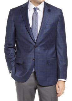 Hart Schaffner Marx Windowpane Plaid Classic Fit Wool Sport Coat