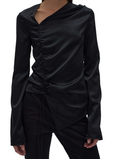 Helmut Lang Asymmetrical Ruched Stretch Silk Top
