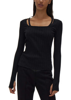 Helmut Lang Rib Square Neck Top