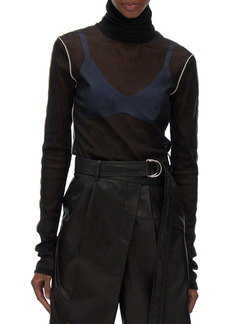 Helmut Lang Sheer Tulle Turtleneck Top