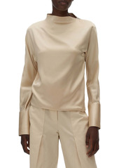 Helmut Lang Shoulder Zip Stretch Silk Blouse