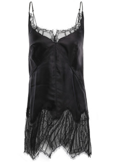 Helmut Lang Woman Chantilly Lace-paneled Satin-twill Camisole Black