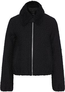 Helmut Lang Woman Shearling-trimmed Wool-blend Bouclé-tweed Jacket Black