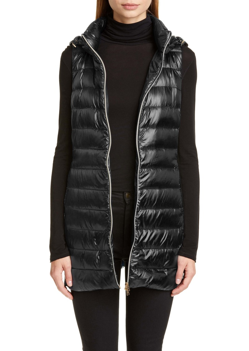 Herno Long Fitted Down Puffer Vest with Removable Hood