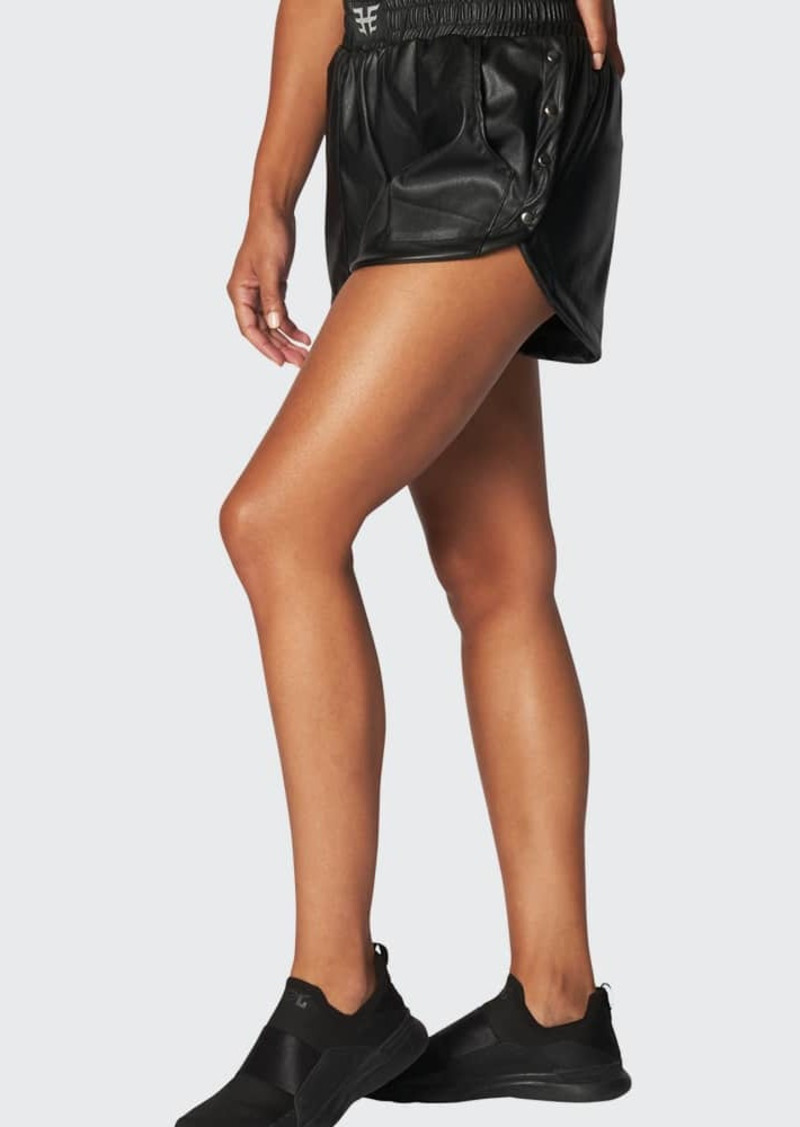 Heroine Sport Racer Faux-Leather Shorts