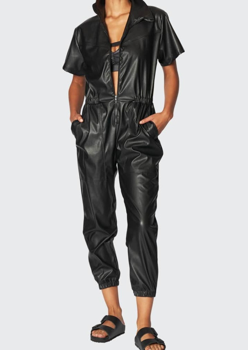 Heroine Sport Work Faux-Leather Zip-Front Jumpsuit