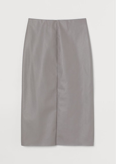 H&M H & M - Faux Leather Pencil Skirt - Gray