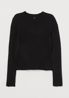 H&M H & M - Fine-knit Top - Black