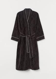 H&M H & M - Jacquard-weave Bathrobe - Black