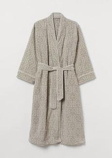 H&M H & M - Jacquard-weave Bathrobe - Brown
