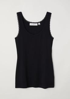 H&M H & M - Lace-trimmed Tank Top - Black