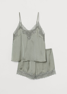 H&M H & M - Pajama Camisole and Shorts - Green