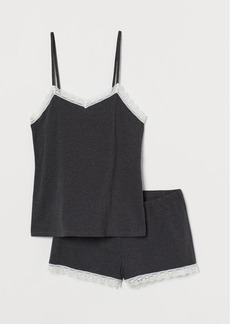 H&M H & M - Pajama Camisole Top and Shorts - Black