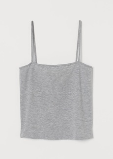 H&M H & M - Cropped Jersey Camisole Top - Gray