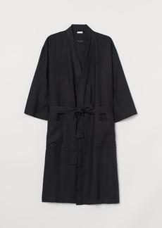 H&M H & M - Washed Linen Bathrobe - Black