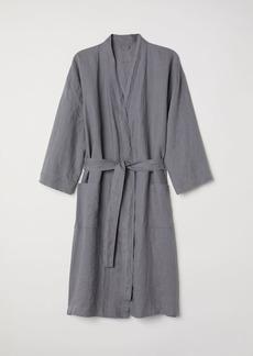H&M H & M - Washed Linen Bathrobe - Gray