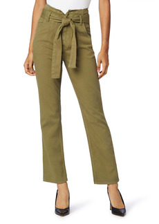 Hudson Jeans Remi Belted Paperbag Waist Ankle Straight Leg Jeans (Olive Green)