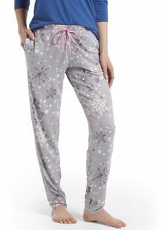 HUE Sleepwear Women's Printed Knit Long Pajama Sleep Pant with Cuffs
