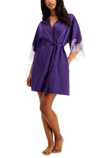 INC International Concepts Inc Lace-Trim Satin Wrap Robe, Created for Macy's