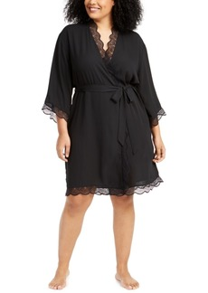 INC International Concepts Inc Plus Size Lace-Trim Chiffon Wrap Robe, Created for Macy's