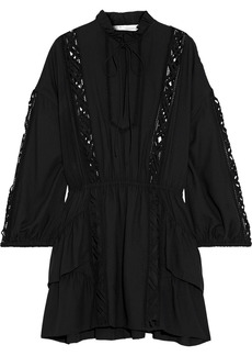 Iro Woman Acevedo Ruffled Lattice-trimmed Modal-blend Mini Dress Black
