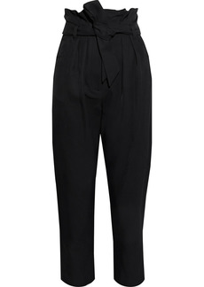 Iro Woman Anost Cropped Belted Pleated Twill Tapered Pants Black