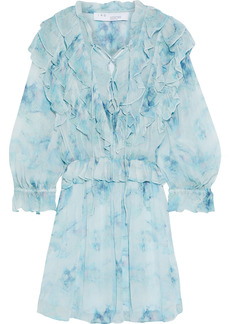 Iro Woman Banon Lace-up Ruffled Tie-dyed Georgette Mini Dress Sky Blue