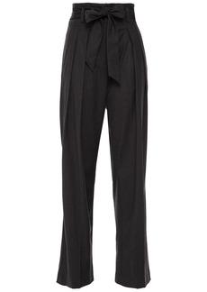 Iro Woman Belted Brushed-twill Straight-leg Pants Dark Gray