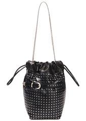 Iro Woman Belty Studded Leather Bucket Bag Black