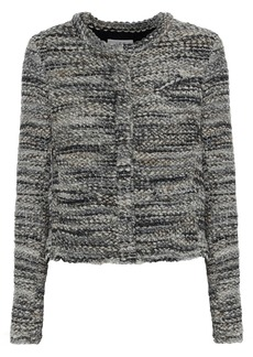 Iro Woman Carene Distressed Bouclé-knit Jacket Anthracite