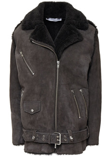 Iro Woman Comody Shearling Biker Jacket Dark Gray
