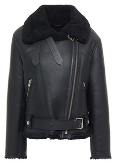 Iro Woman Dries Shearling Biker Jacket Black