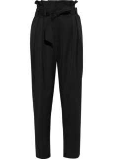 Iro Woman Esyle Belted Pleated Wool-twill Tapered Pants Black