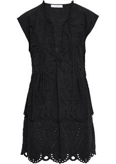 Iro Woman Evene Lace-up Broderie Anglaise Cotton Mini Dress Black