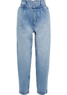 Iro Woman Faded High-rise Tapered Jeans Light Denim