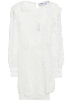 Iro Woman Fergus Ruffled Cotton-blend Lace And Point D'esprit Mini Dress White