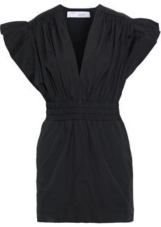 Iro Woman Galena Ruffled Shirred Cotton-poplin Mini Dress Black