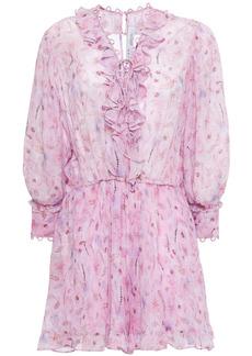 Iro Woman Joyce Lace-up Ruffled Printed Georgette Mini Dress Pink
