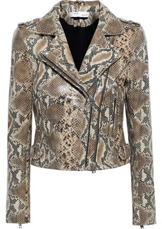 Iro Woman Luiga Snake-effect Leather Biker Jacket Animal Print