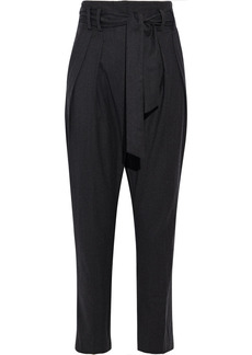 Iro Woman Marloa Belted Brushed-twill Tapered Pants Charcoal