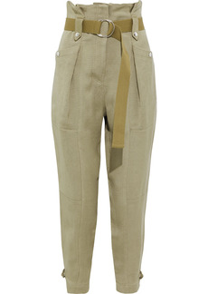 Iro Woman Mohon Belted Canvas Tapered Pants Sage Green
