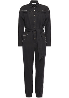 Iro Woman Nicely Cropped Studded Linen And Cotton-blend Jumpsuit Black