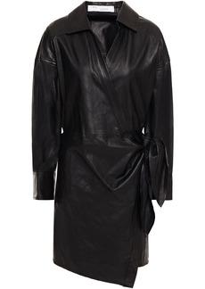 Iro Woman Perrine Leather Mini Wrap Dress Black