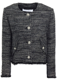 Iro Woman Shakes Frayed Metallic Tweed Jacket Black